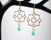 Matt gold geometric turquoise earrings