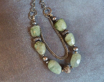 Pretty,  faceted,  green fluorite necklace with crystals, pearls,  dark silver beads and silver chain...