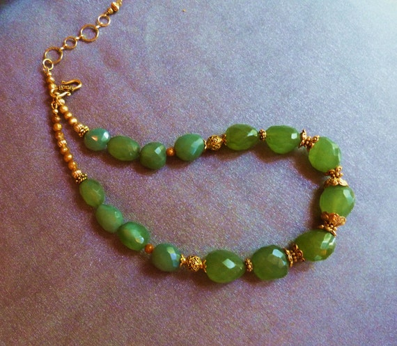 Chunky green chalcedony with antiqued gold beads and golden pearls...
