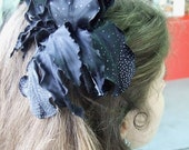 Cyber Monday Etsy Wedding bridal hair clip silk black flower  silver dots fascinator from Attractive1