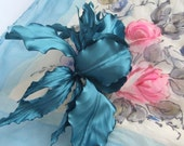 Goth Wedding Blue brooch pin magic fascinator  silk flower