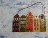 Swedish Stockholm miniature houses - a primitive copy of Stortorget houses in Stockholm Sweden, wall decor panel