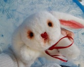 OOAK artist bunny rabbit artist bear Sweetheart 15 inches ready to ship white fur and pink flanel