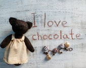 RESERVED for Tania-------OOAK artist bear teddy bear Chocolate, soft bear safe for toddlers, jointed, brown wool, 9.5 inches