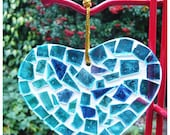 Valentine's Day Blue Stained Glass Mosaic Heart Hanging Limited Edition