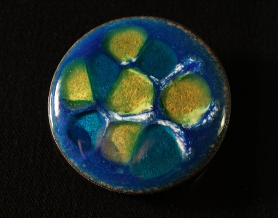 1960s Hand made Abstract Enamel Brooch Pin Modernist Mid Century Artisan