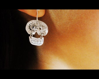 "silver sugar skull earrings -  Dia de los Muertos earrings -sterling silver   ""Day of the Dead"""
