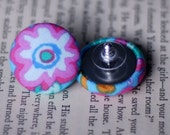 Funky Flower Fabric Covered Button Earrings