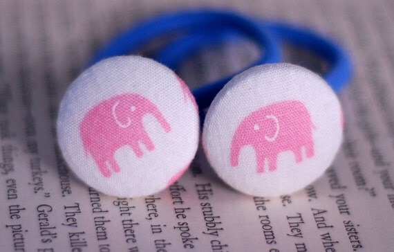 Happy Pink Elephant Fabric Covered Button Hair Ties