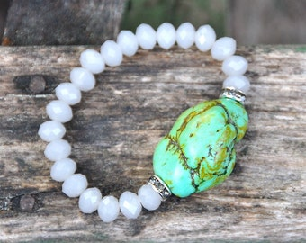Smokey Faceted with Green Turquoise Beaded Bracelet by BeadRustic FREE SHIPPING