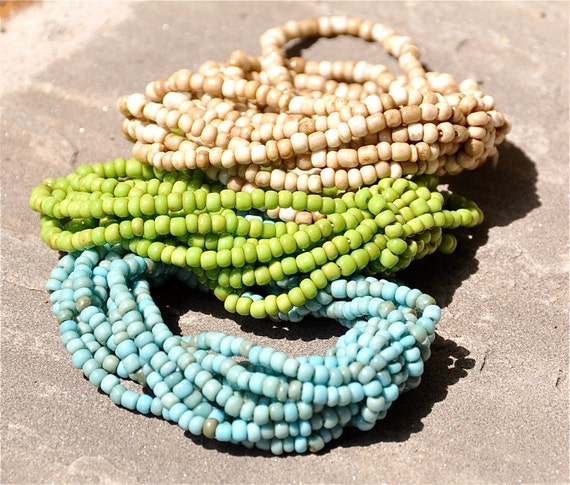 Multiple strand beaded bracelets in turquoise or green