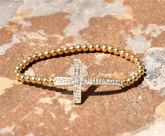 Gold sideways cross crystal pave bracelet
