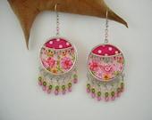 Dangle Earrings in  Pink and Polka dot fabric