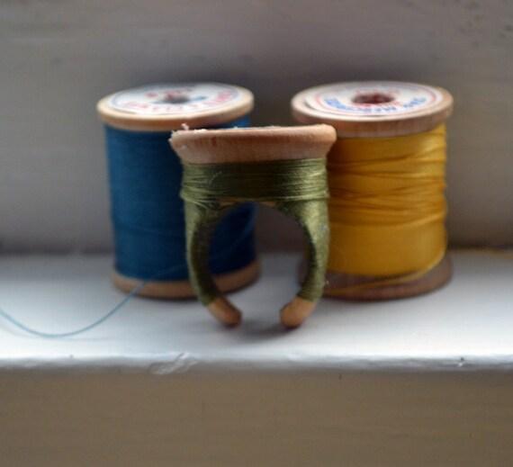 Vintage Spool Ring - Olive Green ooak