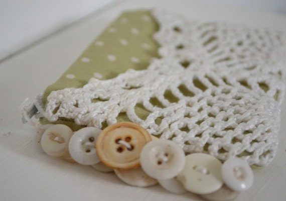 Vintage Lace Coin Purse with Vintage Buttons- Green Polka Dots