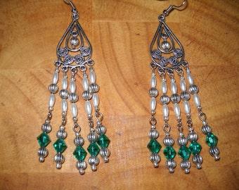 Teal and Pearl Chandelier Earrings