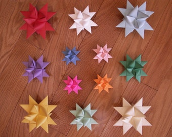 Folded Paper Froebel Stars-Choose Your Color/Colors Set of 12