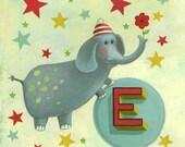 "Elephant illustration - Nursery art print - E is for Elephant - kids room illustration 11""x17"""