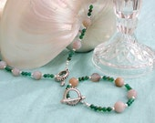 Blue Chalcedony and Green Agate Sterling Silver Necklace, Bracelet and Earring Set by Tunisienne