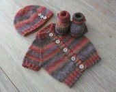"Hand Knit Short-Sleeve Baby Cardigan, Hat & Booties Set in ""Artsie"" Wool Blend with Vintage Taupe Buttons (0-3 months)"
