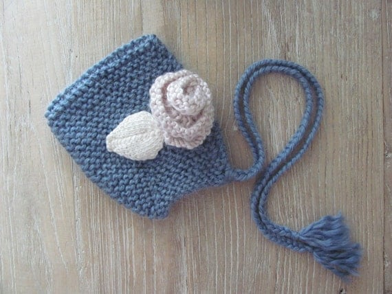 """Hand Knit Baby Pixie Bonnet Hat in Chunky Blue Alpaca with """"Shabby Chic"""" Floral Appliques & Braided Ties (0-3 months)"""
