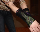 Felted duplex fingerless decorated  black mittens