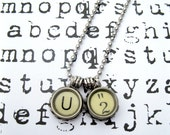 1940's Recycled Vintage Letter U and Number 2 Typewriter Key Ball Chain Necklace-Unisex Jewelry