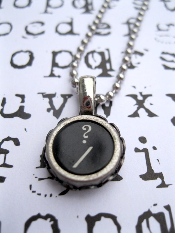 1940's Recycled Vintage Question Mark Typewriter Key Ball Chain Necklace-Unisex Jewelry