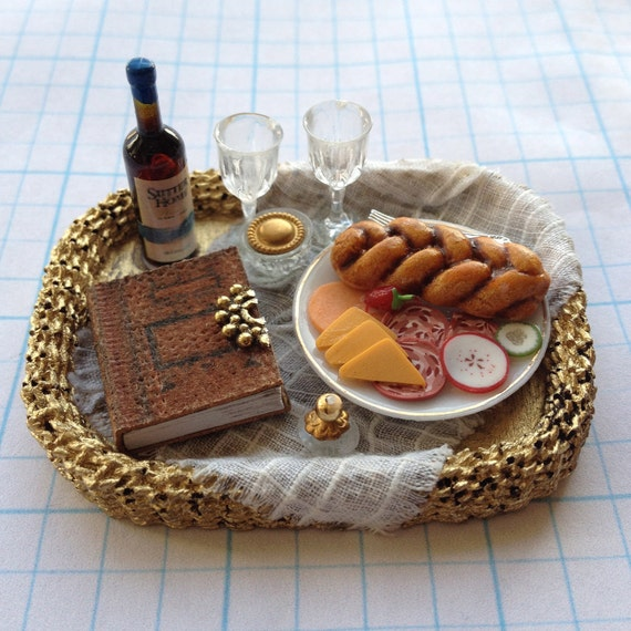 Wicker Basket Tray Large Dressed with Leather Book, Cheese & Wine - by Pat Tyler Dollhouse Miniatures