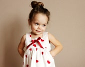 Summer girls blouse B8 tunic spring gift idea white red hearts baby cotton top decorated with bow /rusteam /etsy lush/ madcap/crazyadsteam