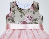 Girls pink grey dress D10 Swarovski crystals flower linen special occasion  /hmet/eco friendly/rusteam / team madcap/etsy lush/ crazyadsteam