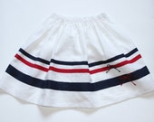 Summer white skirt S8 girls linen striped beach theme decorated with bows /hmet/rusteam /etsy lush/ team madcap/ crazyadsteam