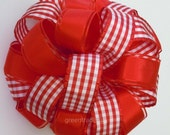 Red White Gingham Check Wedding Bow Anniversary Bow Valentines Wreath Bow Large Gift Party Decoration Bow