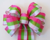 6 Pink Green Plaids Wedding Pew Bows Spring Summer Party Decorations Bows Showers Gifts Bows