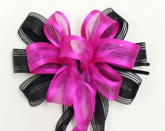 Pink and Black Wedding Pew Bow Black Pink Bridal Shower Party Decoration Fuchsia Black Birthday Party Decor Handmade Packaging Gifts Bow