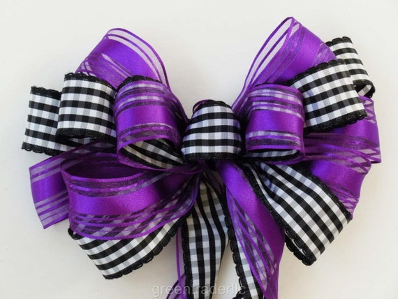 Purple Black Bow Black check Purple Halloween Bow Halloween Door Hanger Bow Halloween Wedding Aisle Bow Purple Black Wreath Bow