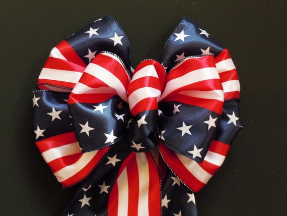 """10"""" Handmade Red White Blue Patriotic Bow American Flag Fourth of July Independence Day Decoration"""