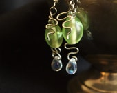 Light Green and Sliver water droplet earrings