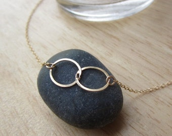 Eternity Gold Double Ring Necklace, eternity necklace, gold necklace,  simple everyday wear
