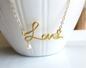 Love Necklace, love charm, fresh water pearl, gold, simple dainty everyday wear, wedding, bride, bridesmaid jewelry