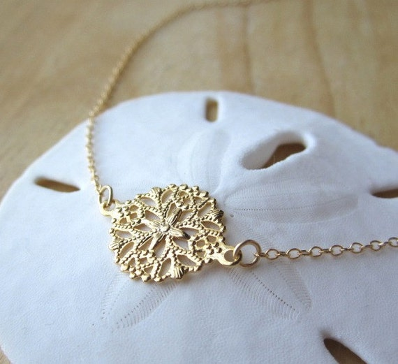 items similar to filigree gold necklace dainty necklace