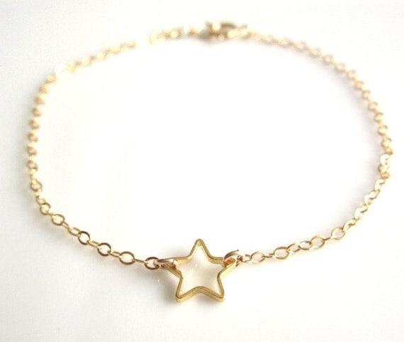 Tiny Gold Star Ring Bracelet - Cute dainty everyday wear