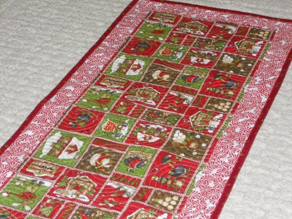 SALE Handmade Christmas Moose, Bears, and other woodland animals play in snow, red, green, holly   Quilted Table Runner