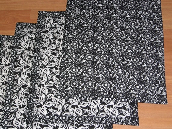 SALE Handmade Black and White Reversible Large Quilted Placemats table mats with Contemporary Leaves, Flowers and Circle Designs (Set of 4)