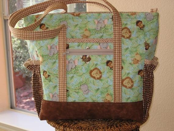 Handmade Large Quilted Jungle Animal Babies Tote Bag, Diaper Bag, Toddler Tote Bag, Overnight Bag in browns, tan, greens, blue