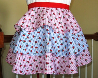 Vintage Style Cupcake Apron - Layers of Sweetness Gingham and Cherry Ruffled