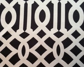 Reserved Listing for Patty Smith - Hollywood Regency - Mid Century Modern Imperial Trellis Style Fabric Black & Cream