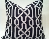 """SALE - Hollywood Regency - Mid Century Modern Imperial Trellis Style Pillow Cover Black & White 20 x 20"""""""