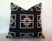 SALE - Hollywood Regency - Mid Century Modern Style Geometric Squares Pillow Cover Navy & Cream