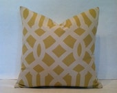 SALE - Hollywood Regency - Mid Century Modern Imperial Trellis Style Pillow Cover Citrine & Cream